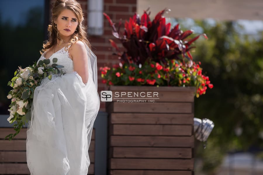 picture of bride outside akron courtyard marriott