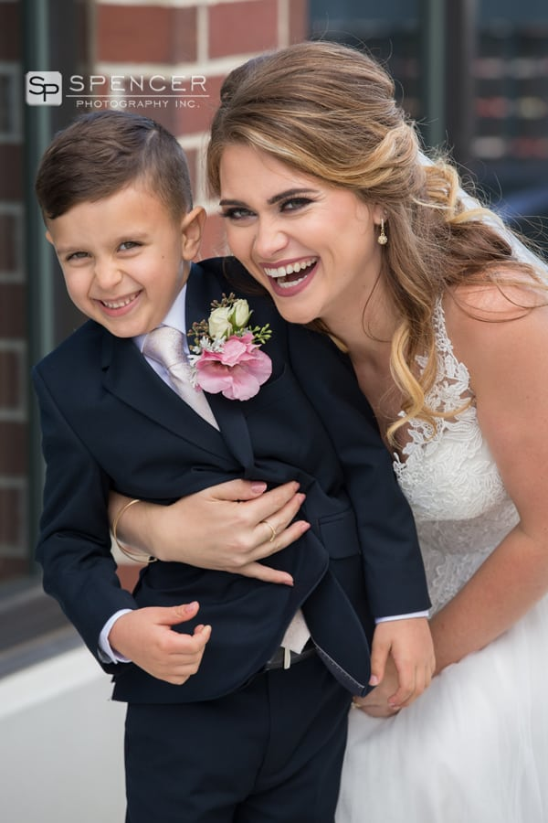 bride and son on her wedding day in akron
