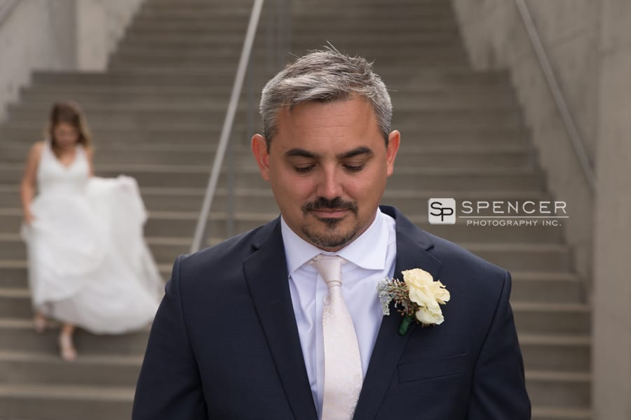 groom waiting for bride to arrive