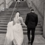 bride and groom at courtyard marriott akron