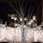 centerpiece at christmas wedding reception at firestone