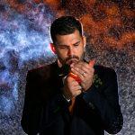 Grant lights his wedding day cigar