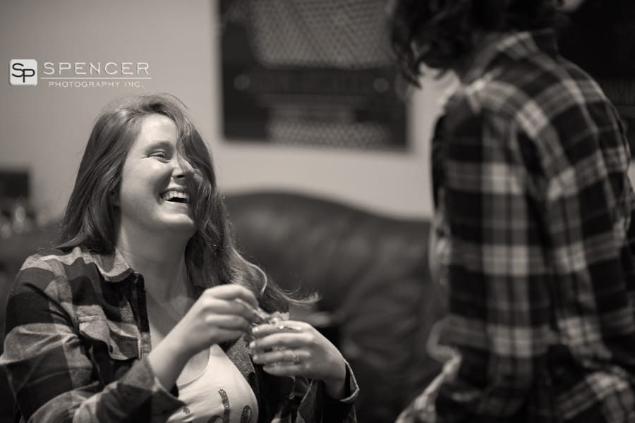 bride laughing on wedding day at music box supper club