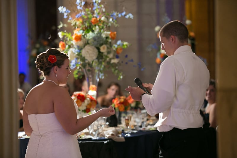 bride and groom give speech at wedding reception at old courthouse