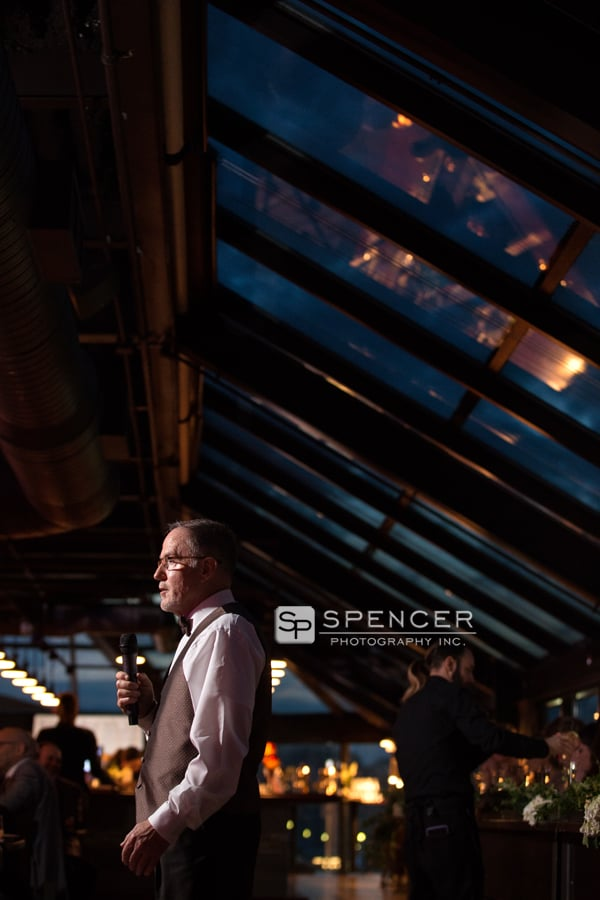 dad giving reception speech at music box supper club