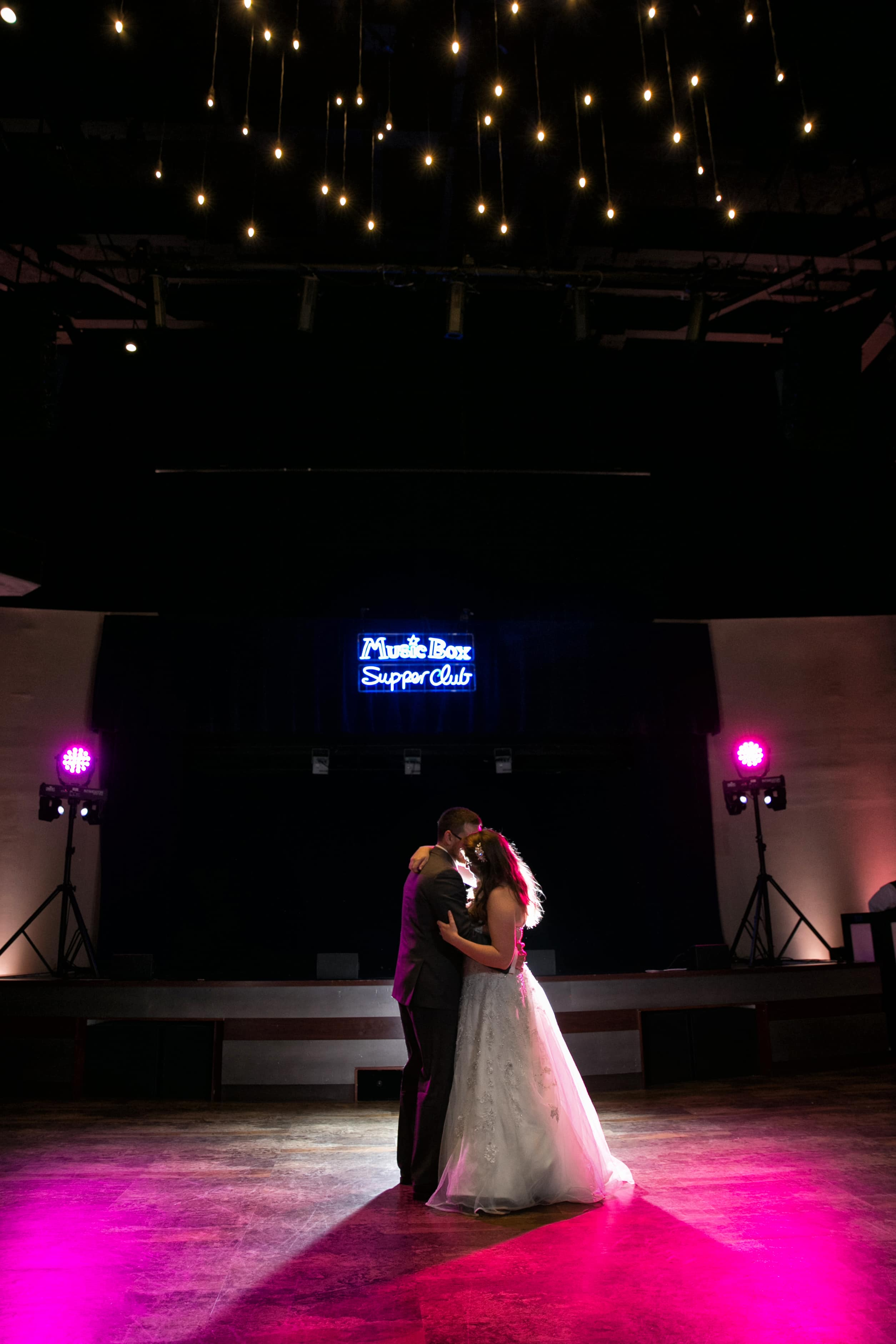 first dance at music box supper clug wedding reception