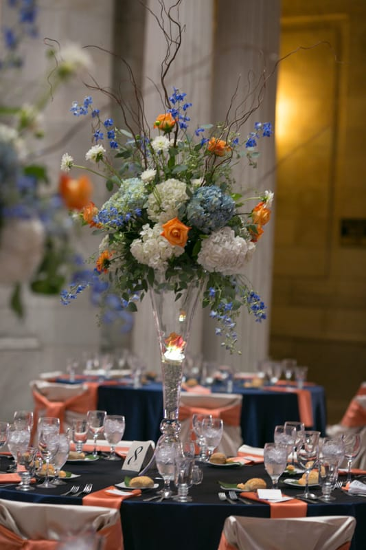 centerpiece at cleveland old courthouse wedding reception