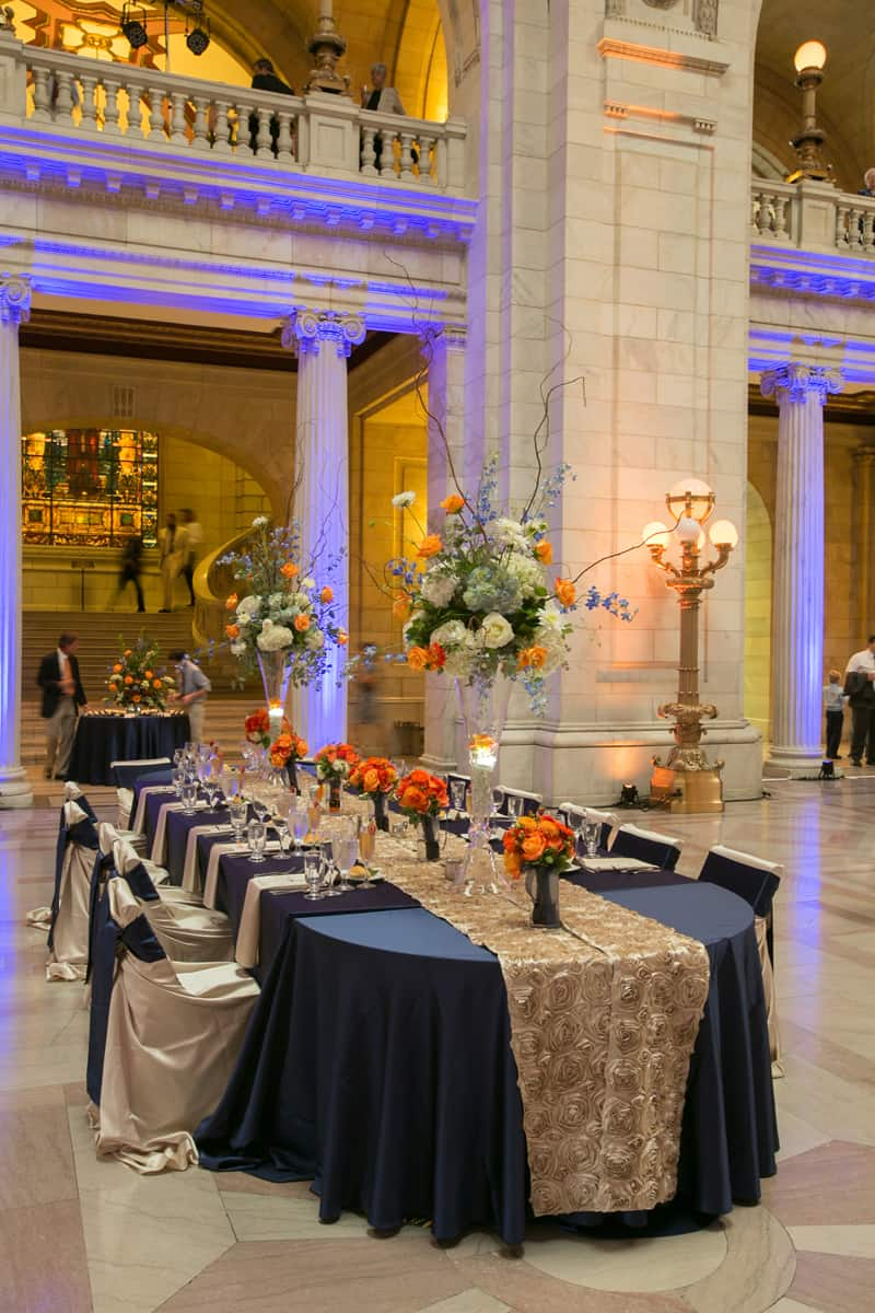 kings table at wedding reception at cleveland old courthouse