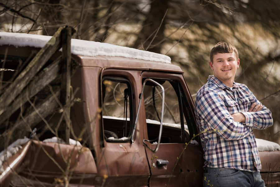 senior picture by old truck