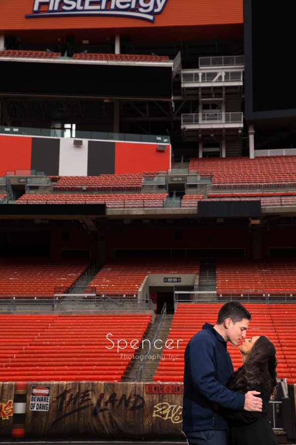 Couple kiss at First Energy Stadium