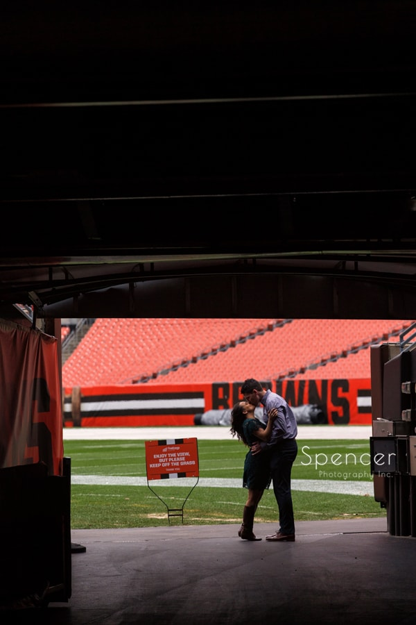 Kissing in tunnel at First Energy Stadium