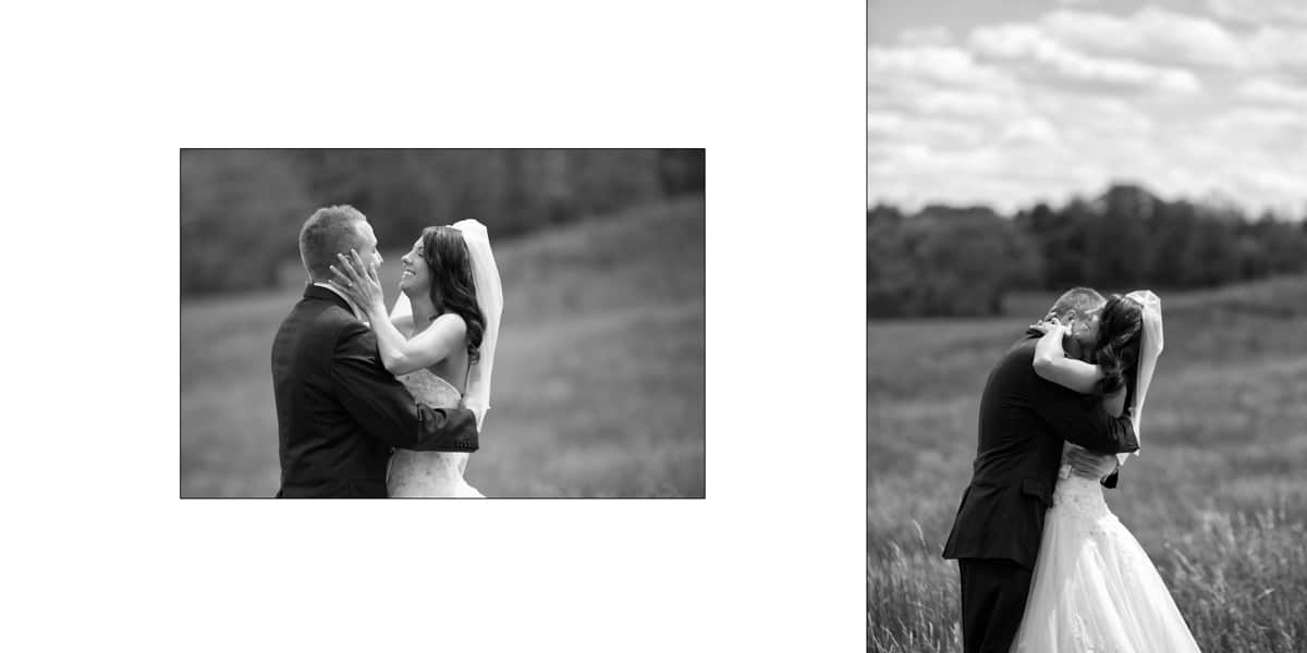 Two pictures of bride groom in a field in Cincinnati