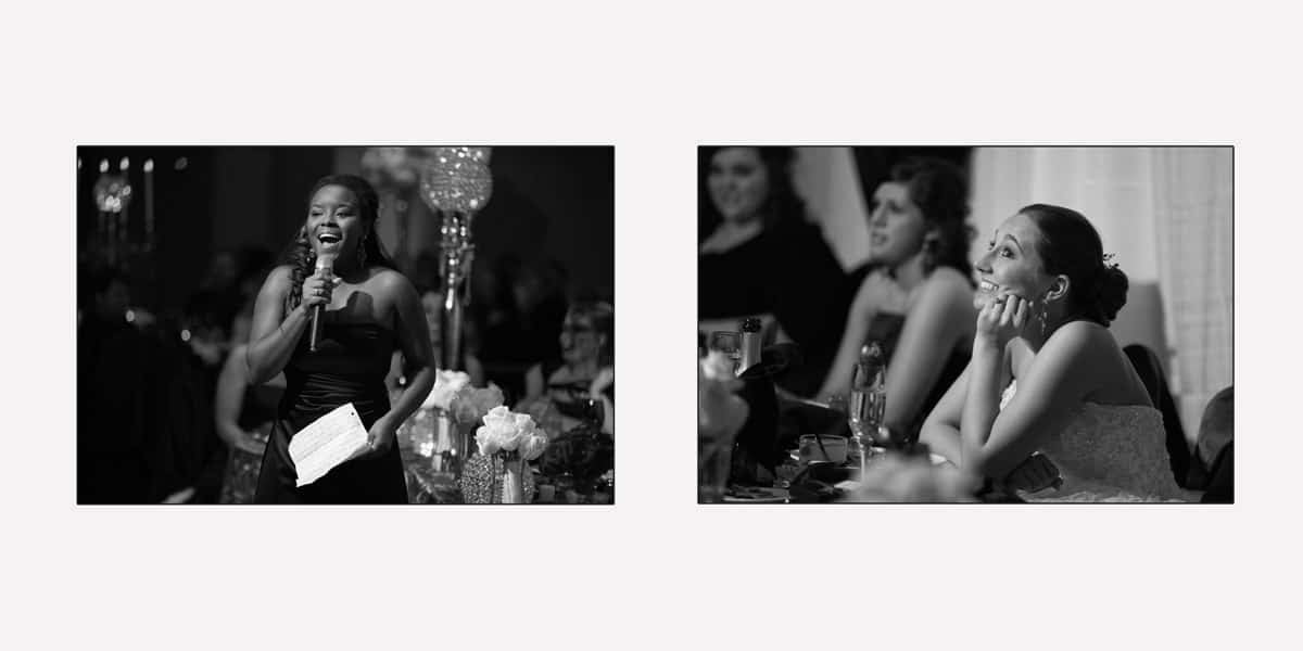 Bride listens to maid of honor speech