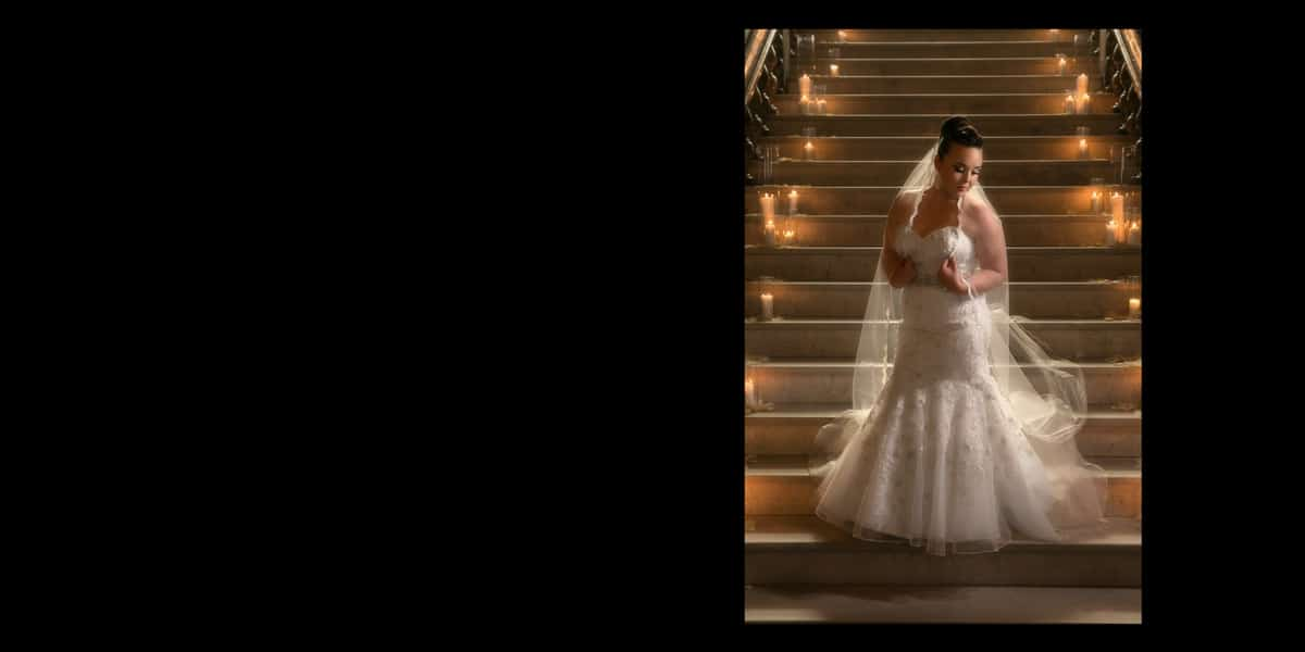 Bridal picture on staircase of Cleveland Union Club