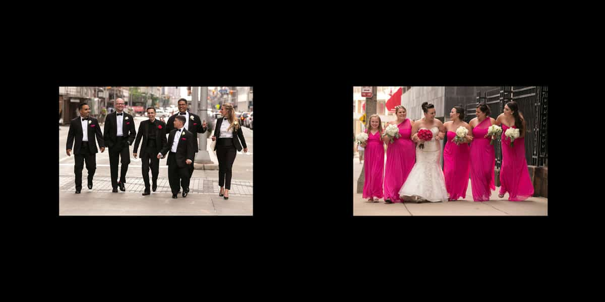 Wedding day pictures in downtown Cleveland