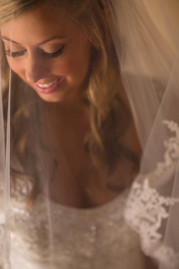 Bridal veil on bride