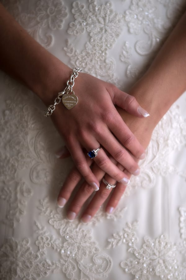 Bride showing off Tiffany bracelet
