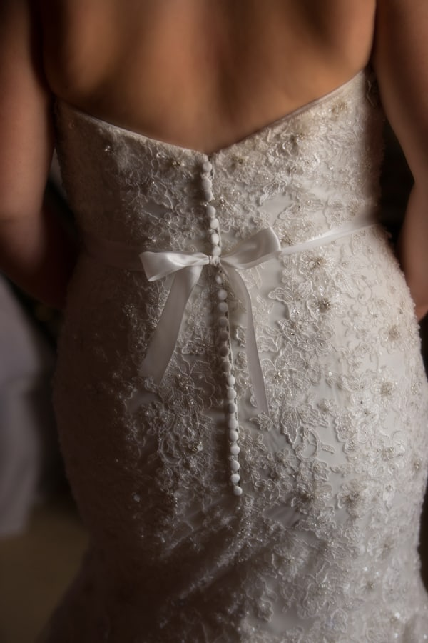 Detail picture of back of brides dress