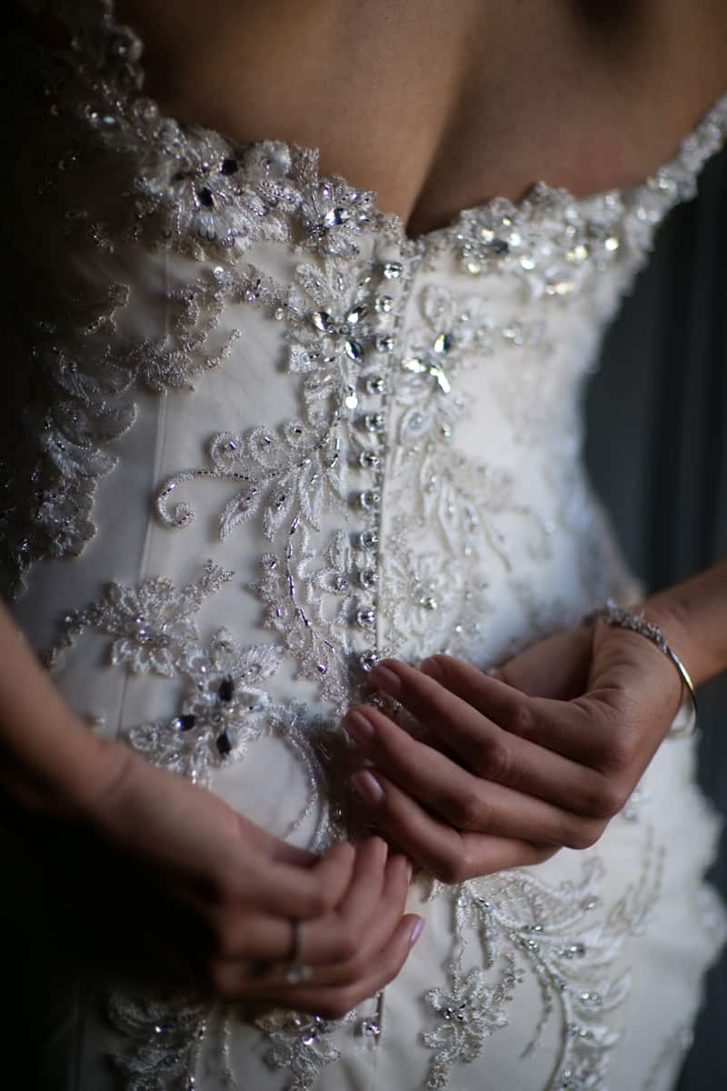 detail of the Clevelabride's dress