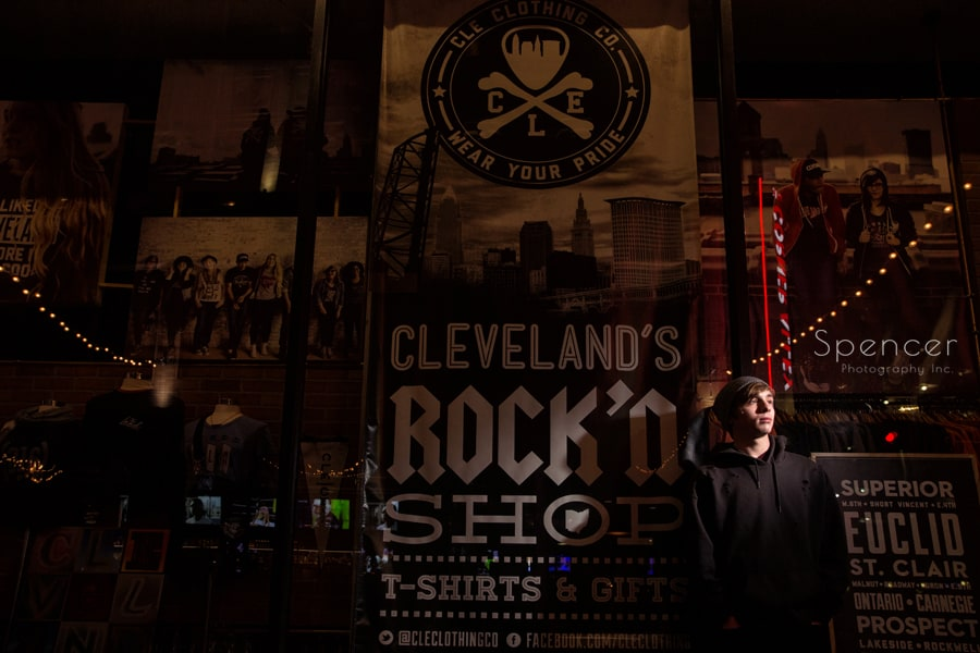 high school senior picture in front of cle clothing