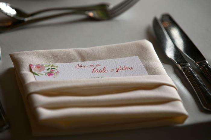 table setting at wedding reception at tudor arms