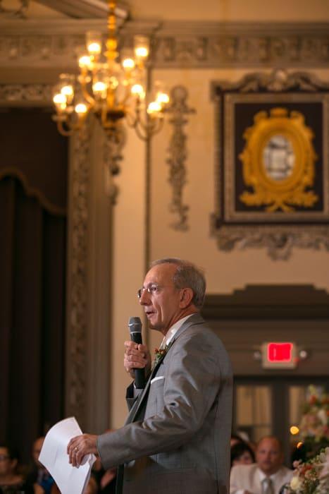 father of bride gives reception speech at tudor arms ballroom