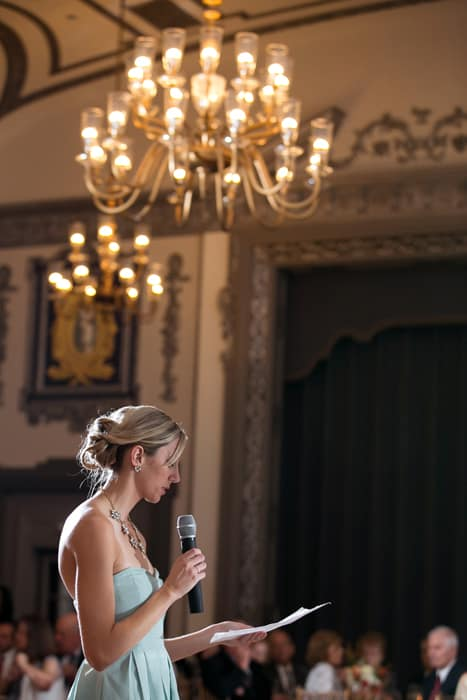 maid of honor gives reception speech at tudor arms