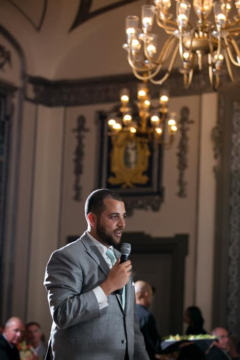 best man gives reception speech at tudor arms cleveland