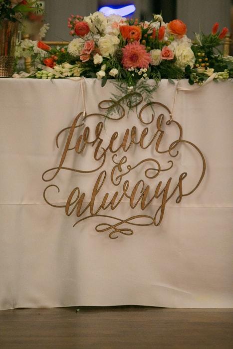 head table decor at wedding reception at tudor arms
