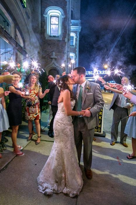 sparkler exit at end of wedding reception at tudor arms cleveland