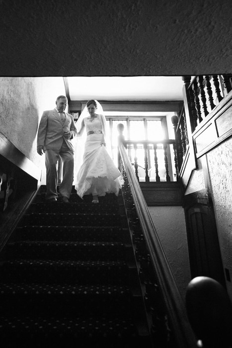 dad walking bride to ceremony at club at hillbrook