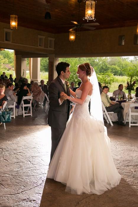 first dance at Gervasi Vineyard wedding reception