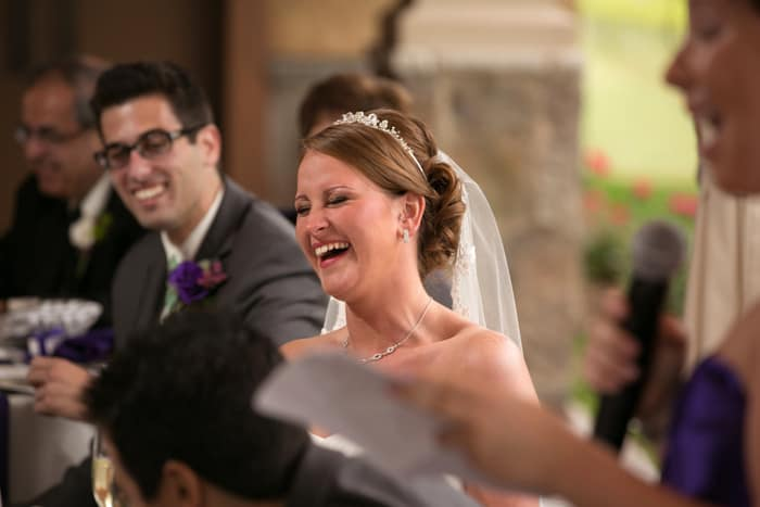 bride reacts to speech at Gervasi reception