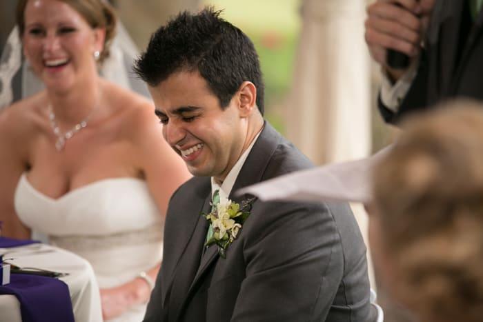 groom reacting to best man speech at Gervasi reception