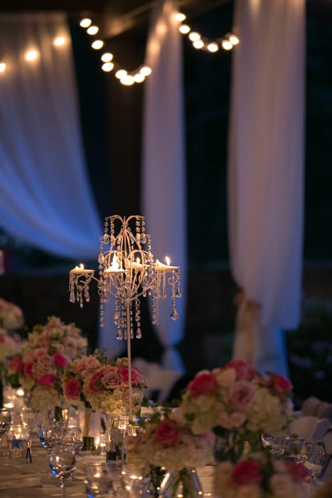 wedding reception centerpiece at club at hillbrook