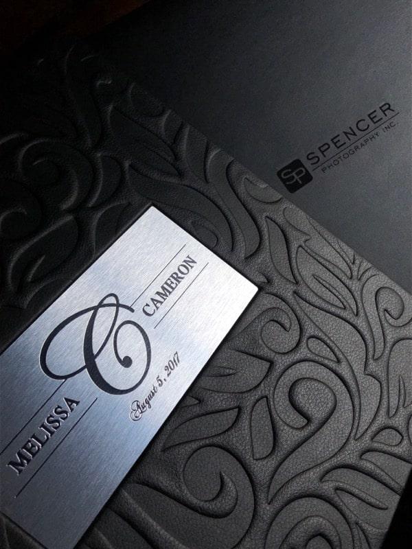 black leather wedding album