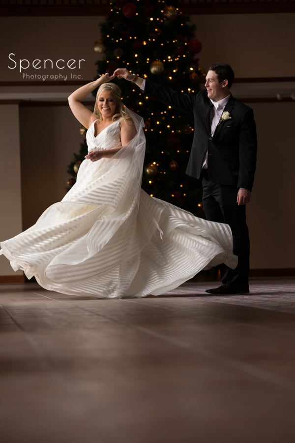 groom spins bride