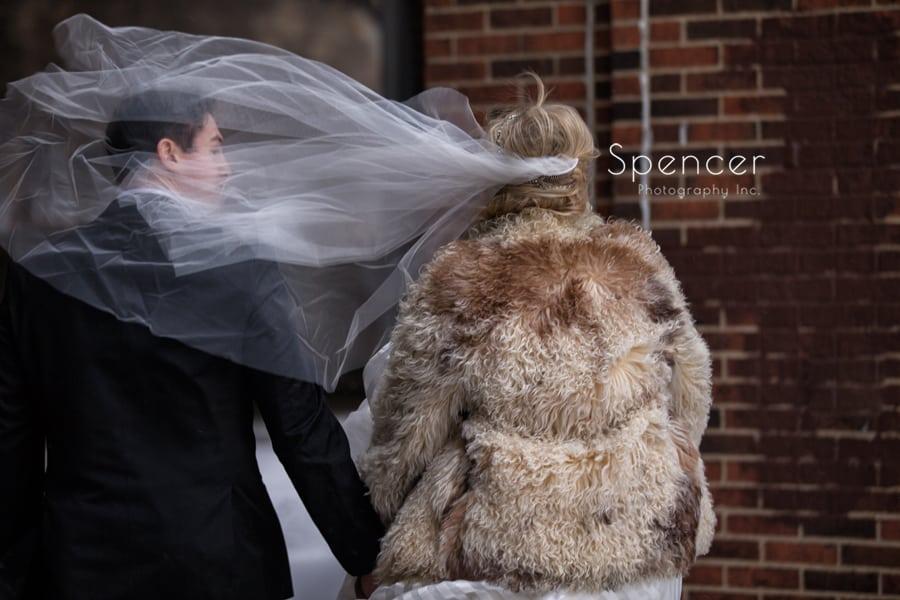 winter wind blows bride veil