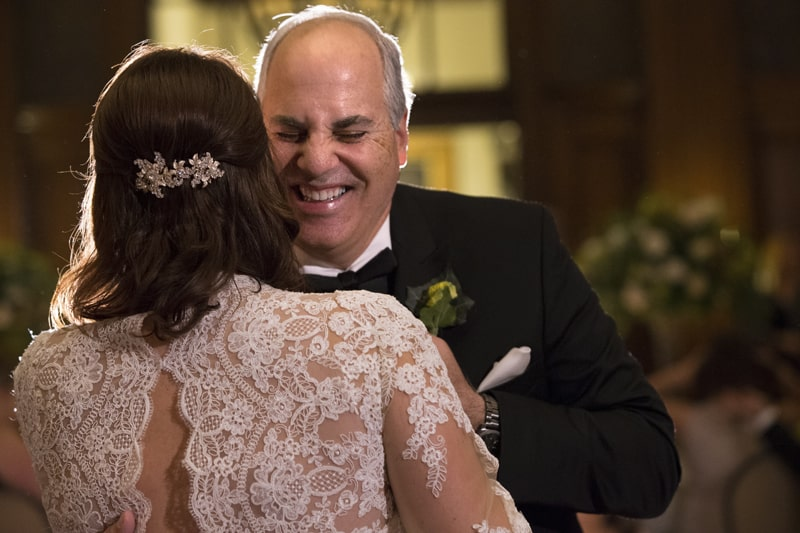 dad and bride dance at her reception at cleveland union club
