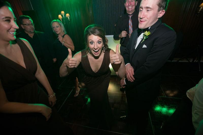 bridal party dancing at union club wedding reception