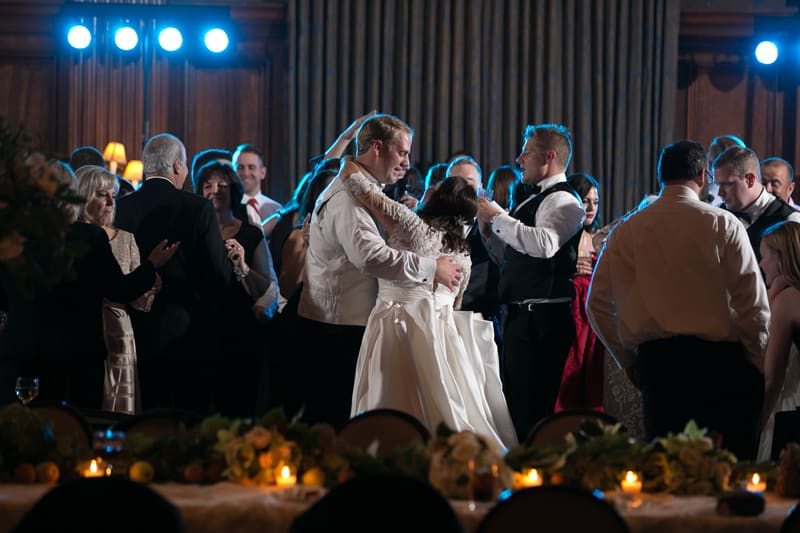 bride and groom in middle of dancefloor at union club