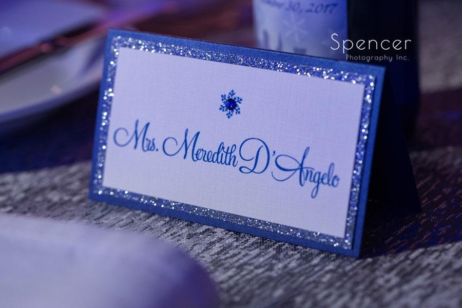 namecard at cleveland renaissance wedding reception