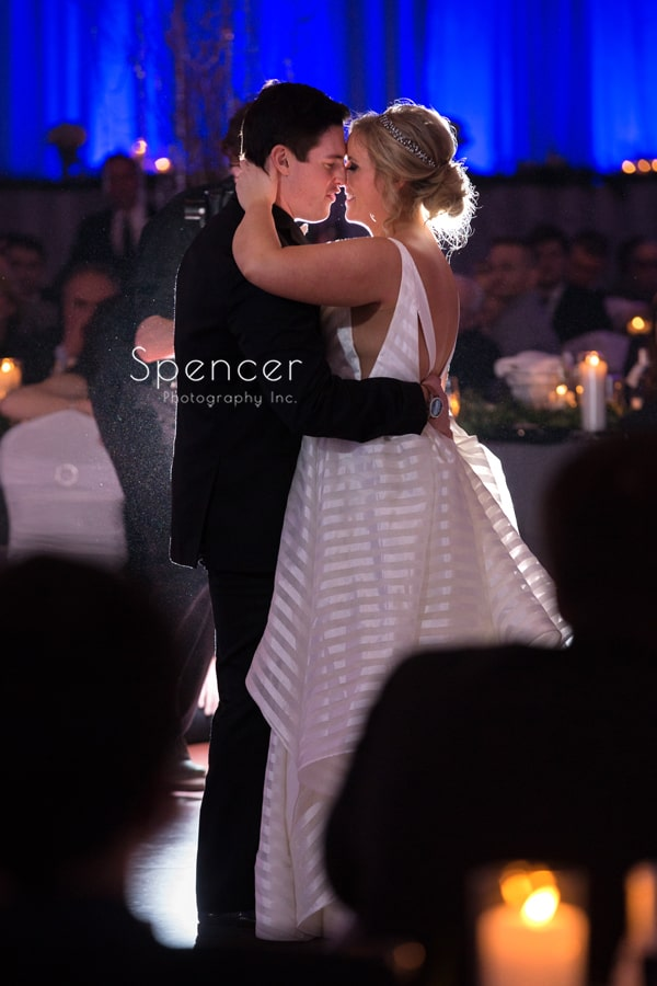 close up picture of bride and groom dancing at cleveland renaissance
