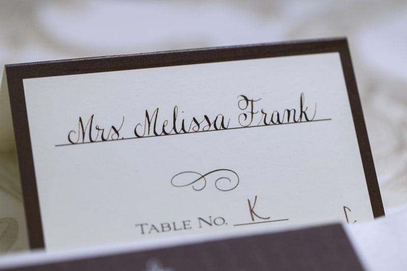 brides nametag at head table