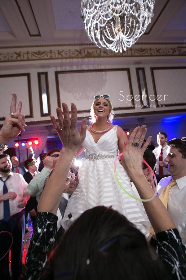 bride having fun at her reception at cleveland renaissance