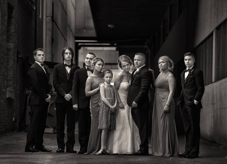 bridal party in akron alleyway