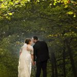 bride and groom walking at stan hywet