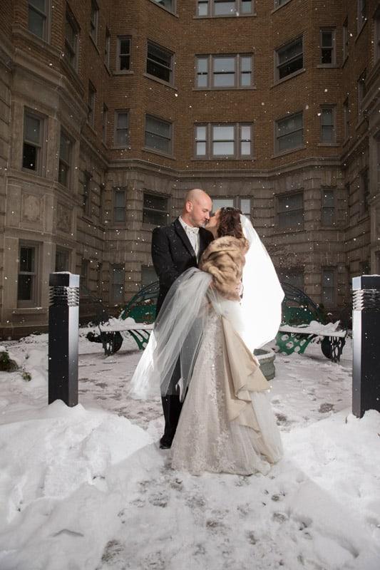 bride and groom wedding day portrait at park lane
