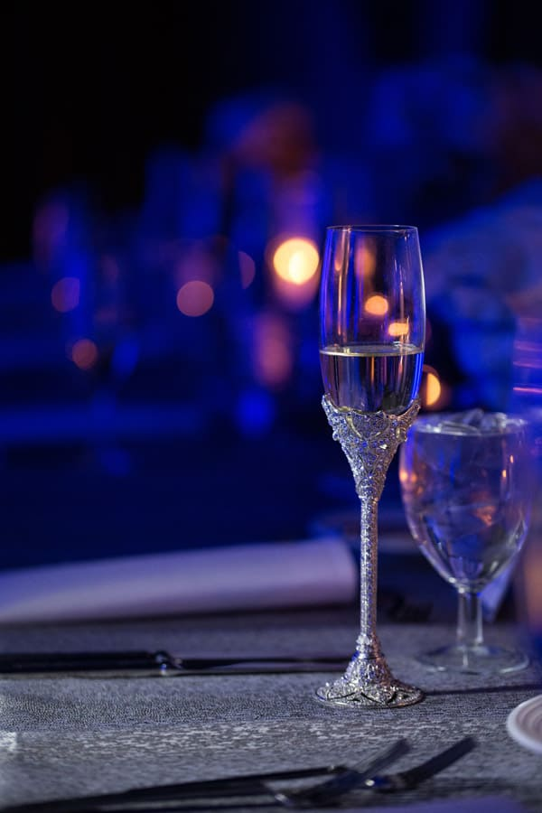 champagne glass at cleveland renaissance wedding reception