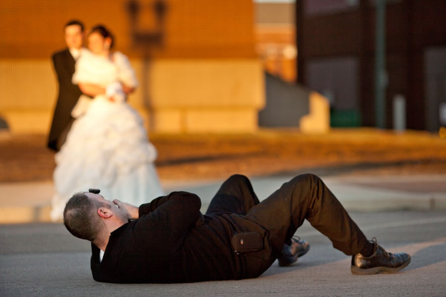 cleveland wedding photographer laying on ground